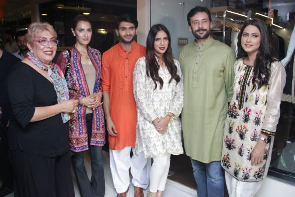 Ms Marzee with Nadia Hussain, Asif Rehman, Saima Azhar, Tipu Shareef and Saima Haroon at the launch event of Khaamta