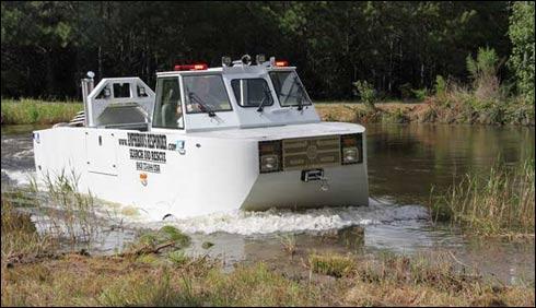 پانی اور خشکی پر چلنے کی صلا حیت رکھنے والا منفردریسکیو ٹرک