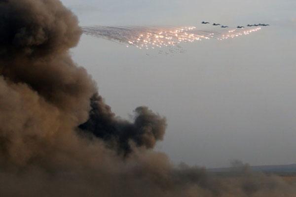 روسی فضائیہ کی شام میں دہشت گردوں کے ٹھکانوں پر کارروائی