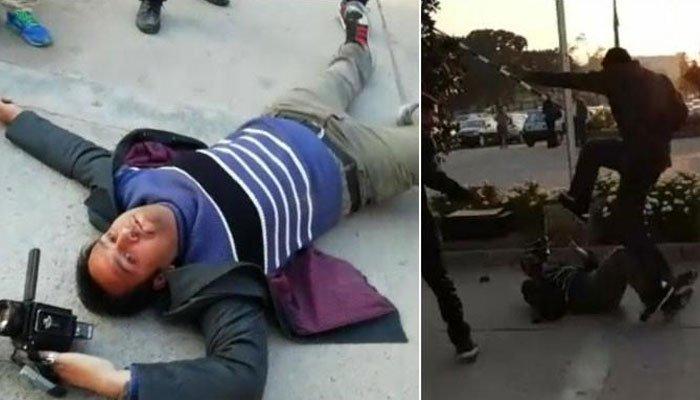 نوازشریف کے گارڈ کا ٹی وی چینل کے کیمرہ مین پر تشدد