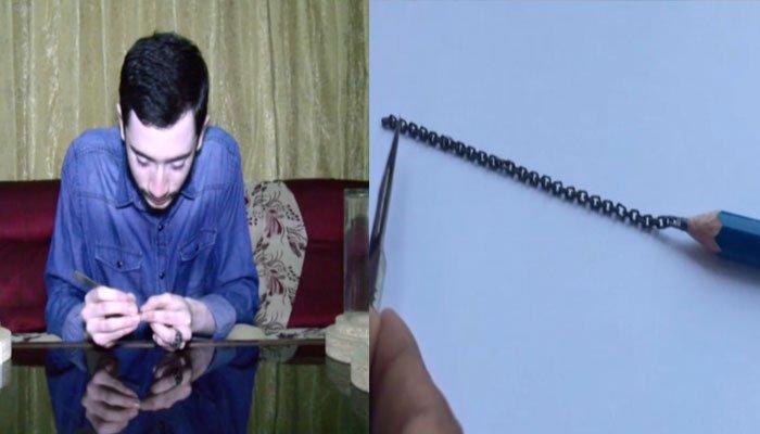 پینسل کی نوک سے 50 رنگز کی چین بنانےوالا نوجوان