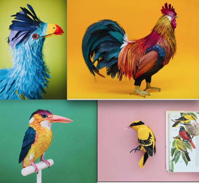 جیتے جاگتے پرندوں جیسے کاغذی پرندے